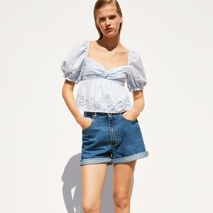 ZARA KNOTTED EMBROIDERED TOP SKY BLUE - 7521/087